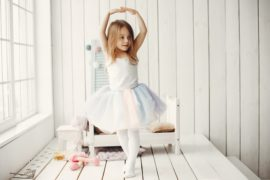 Little girl in a ballet tutu. Child in a ballet skirt.